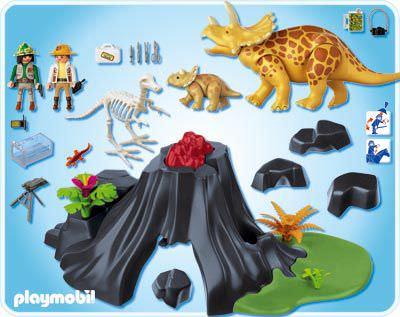 Playmobil 4170 - Triceratops mit Baby und Vulkan - Zurück