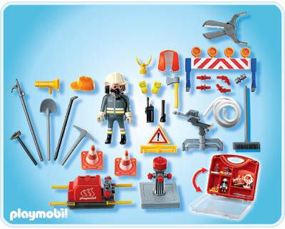 Playmobil 4180 - Fireman Carrying Case - Back