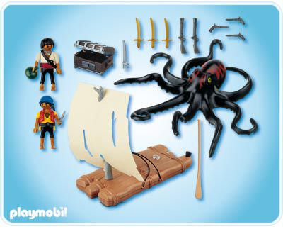 Playmobil 4291 - raft with giant octopus - Back