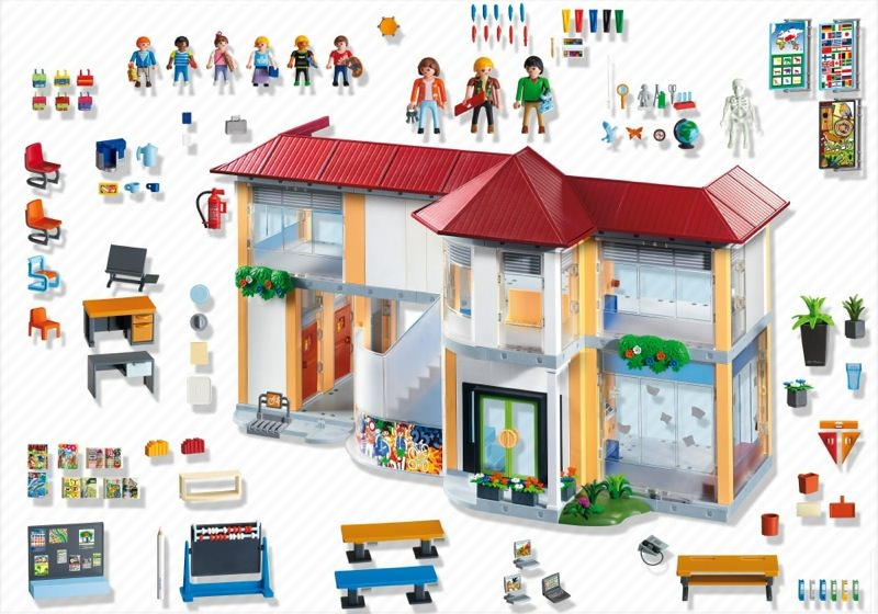 Playmobil 4324 - Furnished School Building - Back