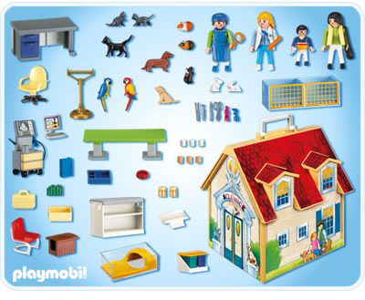 playmobil set 4374 take along veterinary clinic. Black Bedroom Furniture Sets. Home Design Ideas