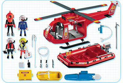 Playmobil 4428 - Rescue helicopter and boat - Back