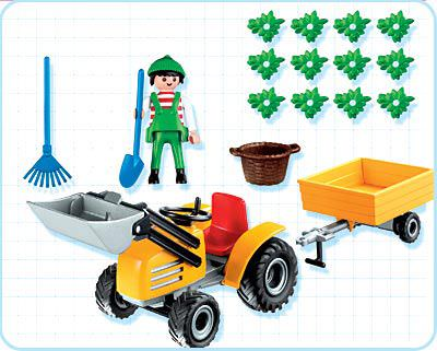 Playmobil 4486 - Gardener with Tractor - Back
