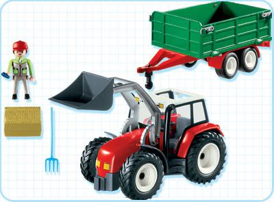 Playmobil 4496-ger - Tractor with Hay Trailer - Back