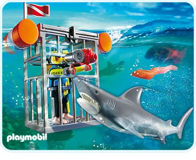 Playmobil set 4500 shark diver klickypedia for Piscine playmobil