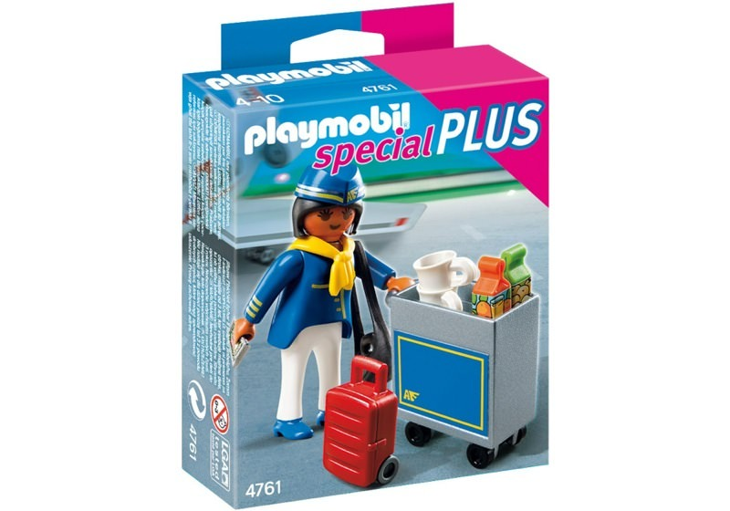 Playmobil 4761 - Flight Attendant with Service Cart - Box
