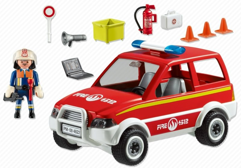 Playmobil 4822 - Fire Chief and Car - Back