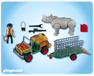 playmobil set 4832 ranger 39 s vehicle with rhino. Black Bedroom Furniture Sets. Home Design Ideas