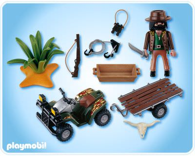 Playmobil 4834 - Ranger with Quad Bike and Trailer - Back