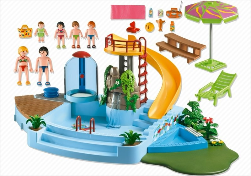 Playmobil set 4858 pool with water slide klickypedia for Piscine playmobile 4858