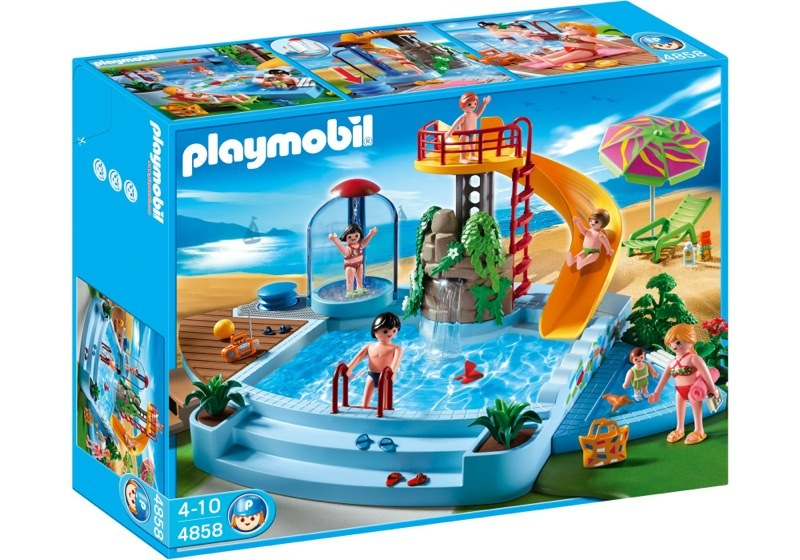Playmobil set 4858 pool with water slide klickypedia for Piscine playmobil
