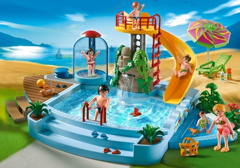 Playmobil set 4858 pool with water slide klickypedia for Piscina playmobil