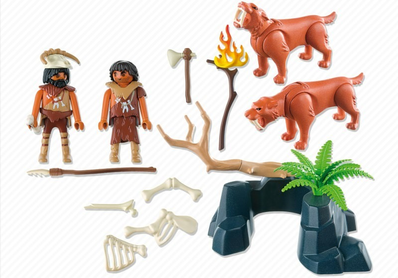 Playmobil 5102 - Saber-Toothed Cat with Cavemen - Back