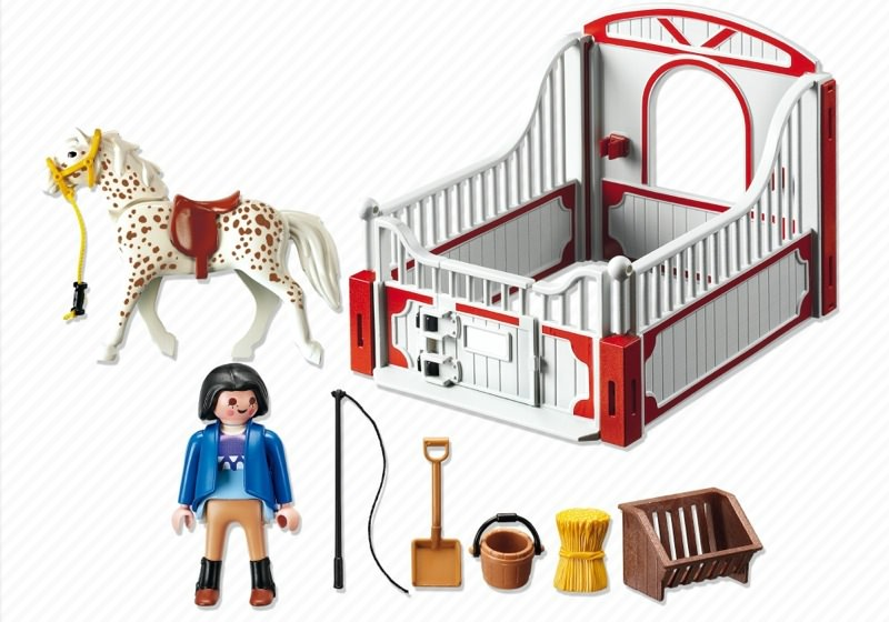 Playmobil 5107 - Knabstrupper Horse with Trainer and Stable - Back