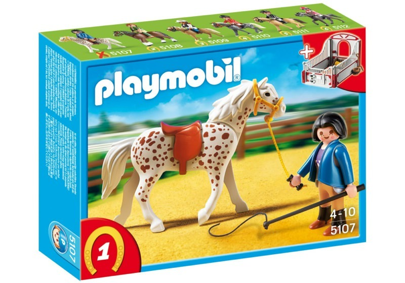 Playmobil 5107 - Knabstrupper Horse with Trainer and Stable - Box