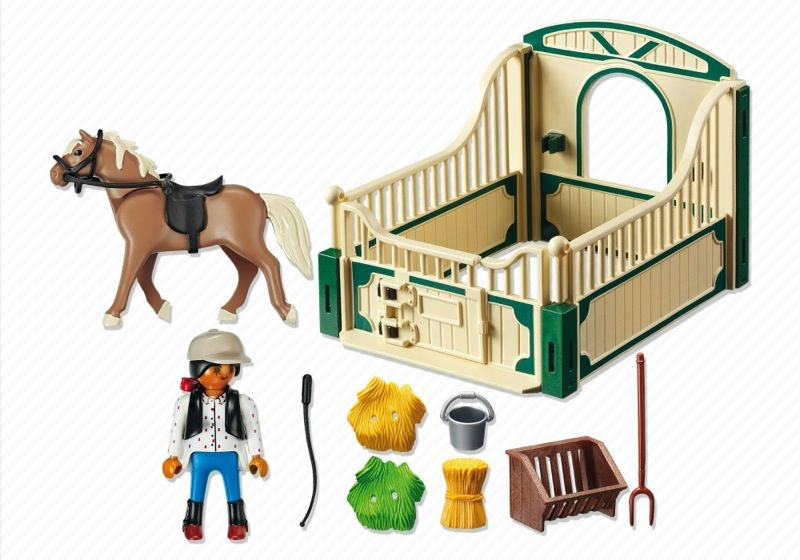 Playmobil 5109 - Haflinger Horse with Rider and Stable - Back