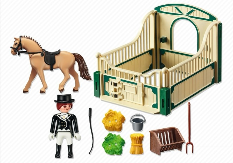 Playmobil 5111 - German Sport Horse with Dressage Rider and Stable - Back