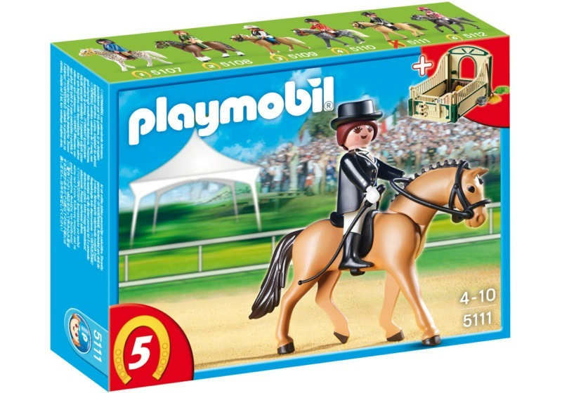 Playmobil 5111 - German Sport Horse with Dressage Rider and Stable - Box