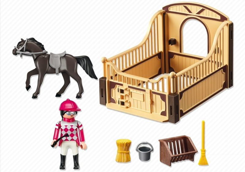 Playmobil 5112 - Arabian Horse with Jockey and Stable - Back