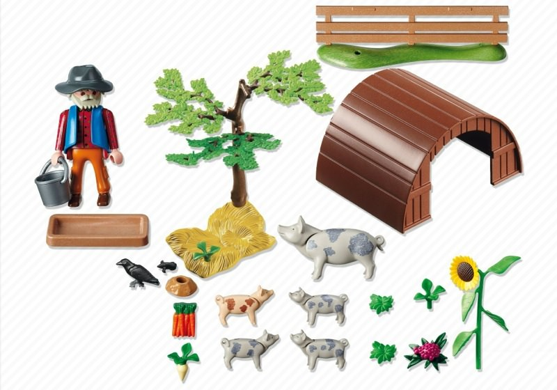 Playmobil 5122 - Spotted Pigs and Pigpen - Back
