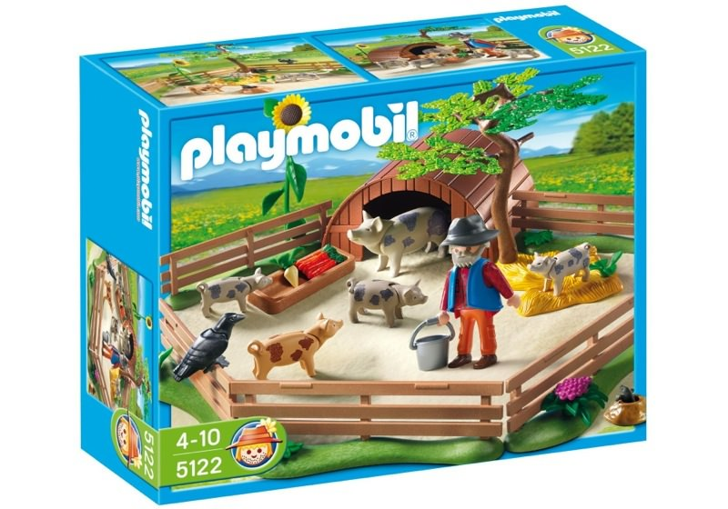 Playmobil 5122 - Enclos et éleveur de cochons - Boîte