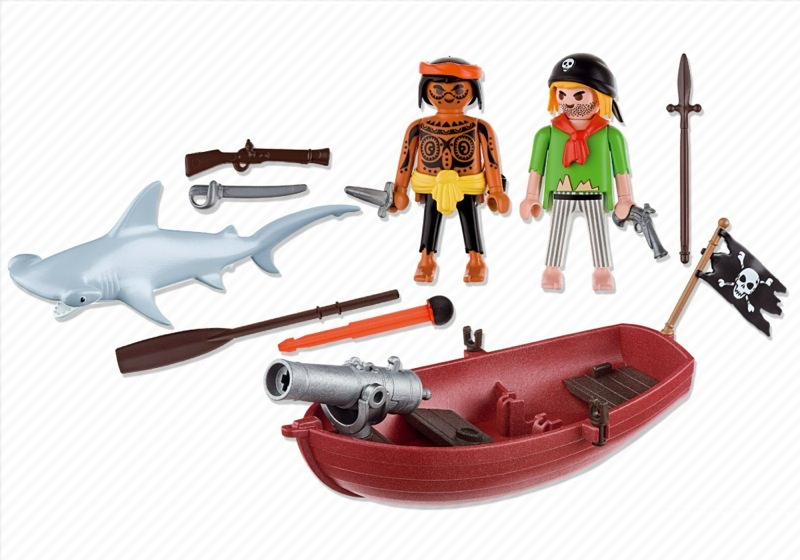 Playmobil 5137 - pirates' rowboat with hammer shark - Back