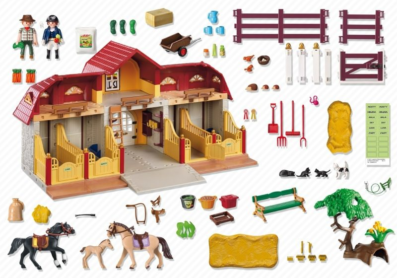 Playmobil 5221 - Large Horse Farm with Paddock - Back