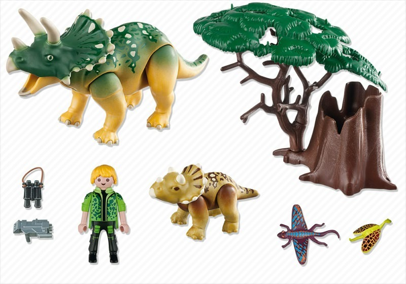 Playmobil 5234 - Explorer and Triceratops with Baby - Back