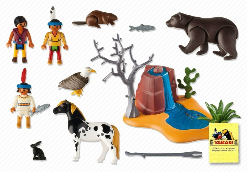 Playmobil 5252 - Native American Children with Bear Cave - Back