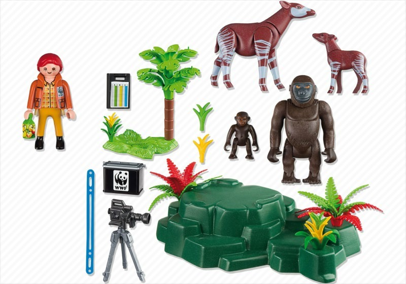 Playmobil 5273 - WWF-Zoologist with Okapi and Gorillas - Back