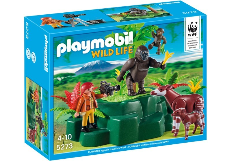 Playmobil 5273 - WWF-Zoologist with Okapi and Gorillas - Box