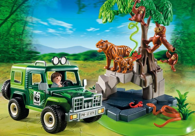playmobil set 5274 wwf suv with tigers and orangutans. Black Bedroom Furniture Sets. Home Design Ideas