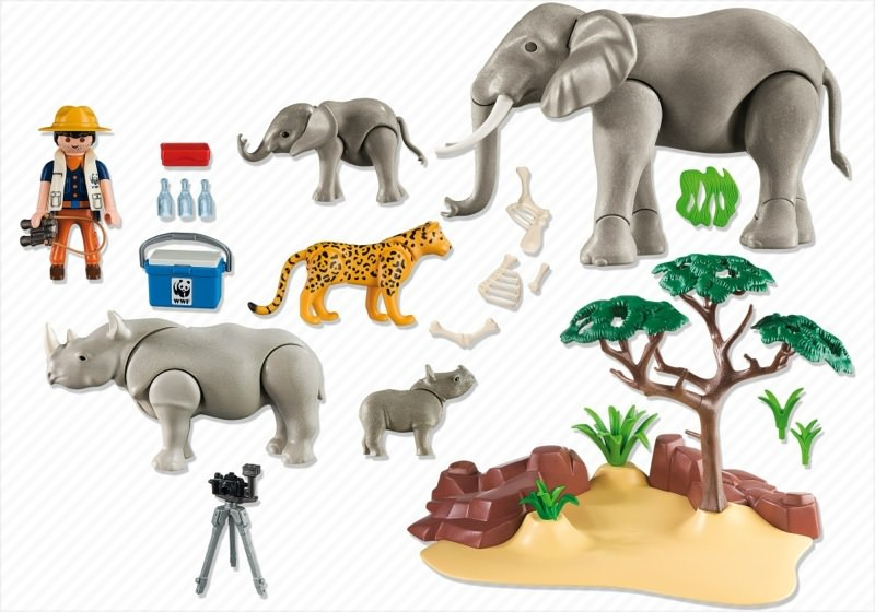 Playmobil 5275 - WWF-Researcher with African savannah animals - Back