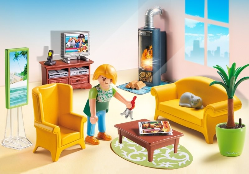 Playmobil set 5308 wohnzimmer mit kaminofen klickypedia for Wohnzimmer playmobil