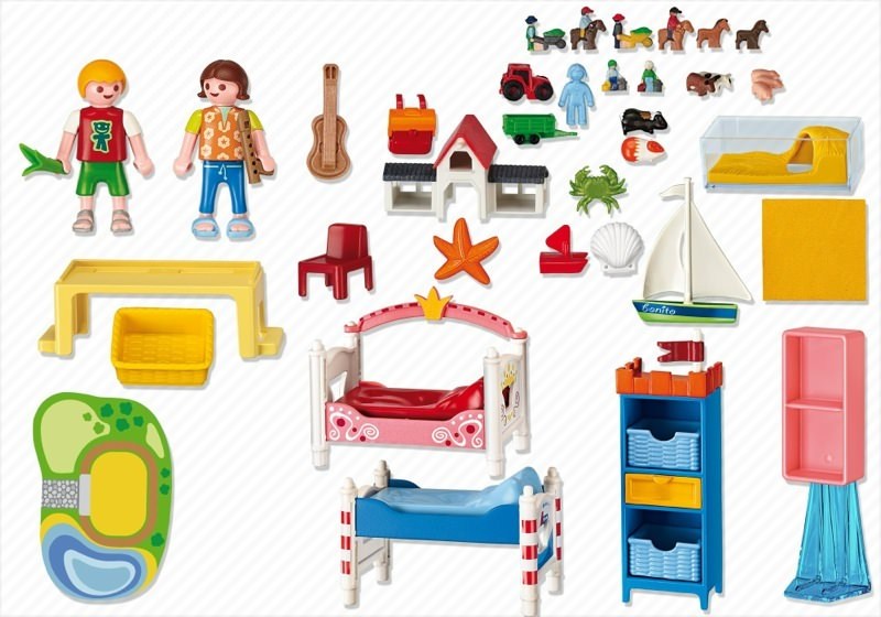 Playmobil set 5333 boy and girl room klickypedia for Chambre playmobil