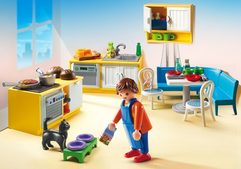 Playmobil set 5336 fitted kitchen with seating for Salle a manger playmobil city life