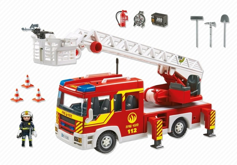 Playmobil 5362 - Fire Department Ladder Truck with Light and Sound - Back