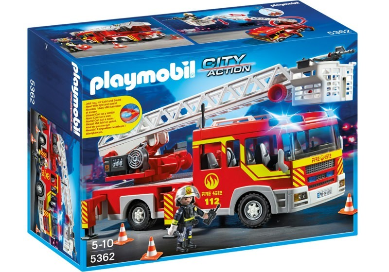 Playmobil 5362 - Fire Department Ladder Truck with Light and Sound - Box