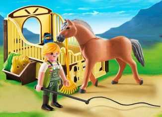 Playmobil - 5517 - Fjord horse with brown-yellow horsebox