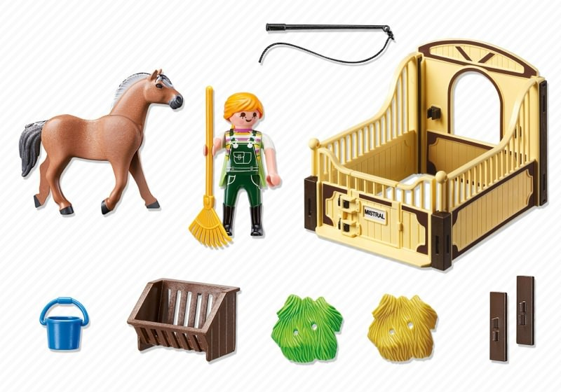 Playmobil 5517 - Fjord horse with brown-yellow horsebox - Back