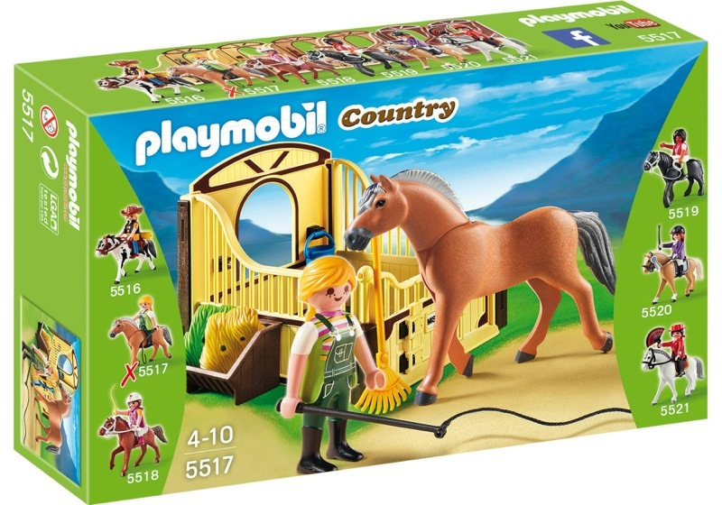 Playmobil 5517 - Fjord horse with brown-yellow horsebox - Box