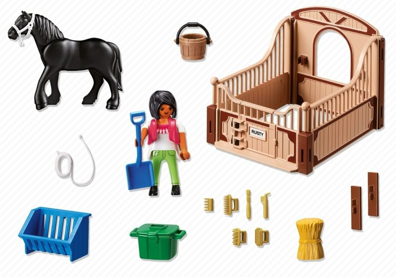 Playmobil 5519 - Friese with brown-beige horsebox - Back