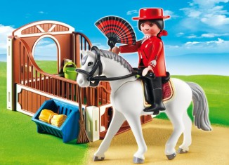 Playmobil - 5521 - Andalusian horse box with white-brown