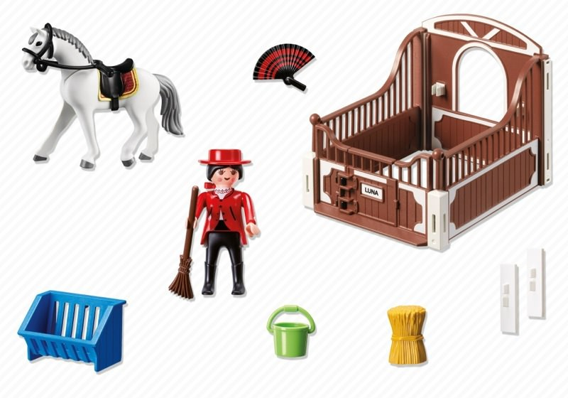 Playmobil 5521 - Andalusian horse box with white-brown - Back