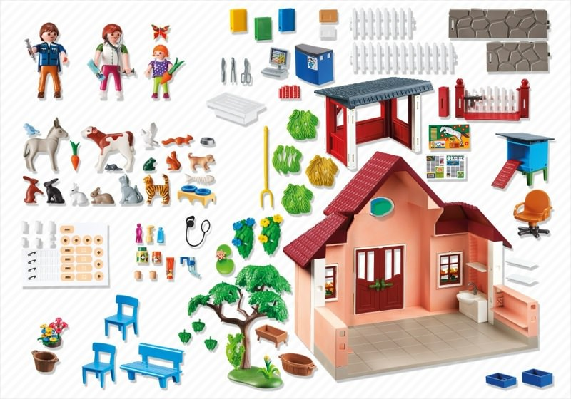 Playmobil 5529 - Vet practice with buildings - Back