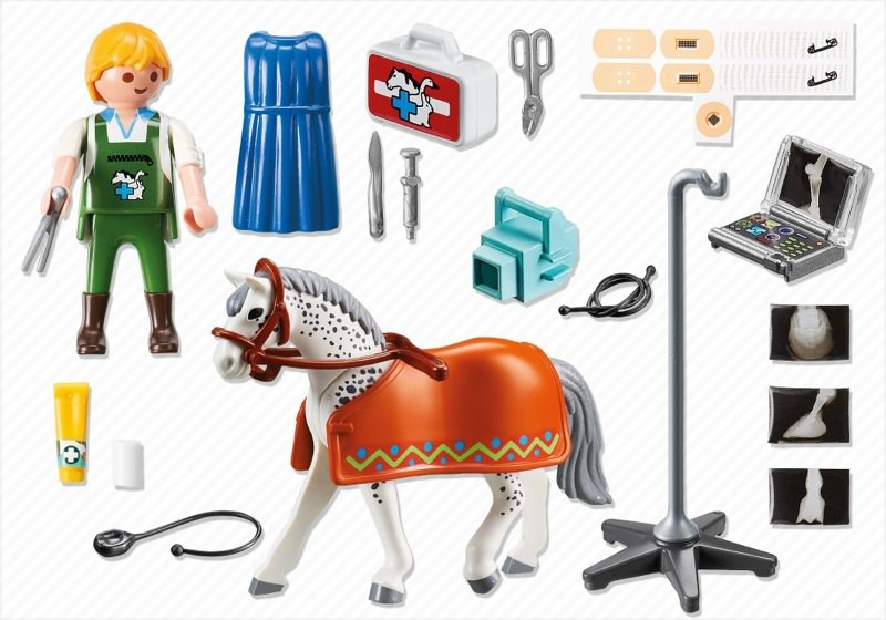 Playmobil 5533 - Vets Horse with X-Ray Technician - Back