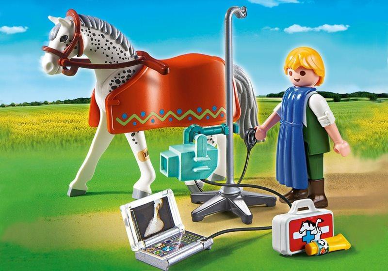 Playmobil set 5533 r ntgentierarzt mit appaloosa for Playmobil pferde set