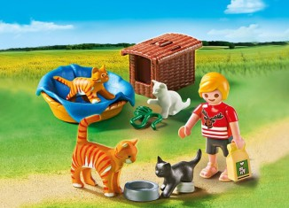 Playmobil - 5535 - Cat family with bin