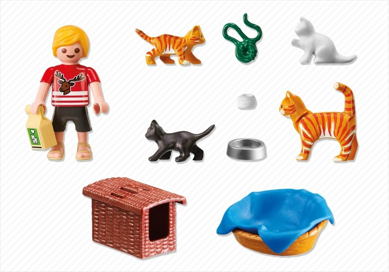 Playmobil 5535 - Cat family with bin - Back