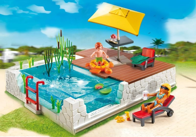 Playmobil set 5575 swimmingpool with terrace klickypedia for Piscine playmobil
